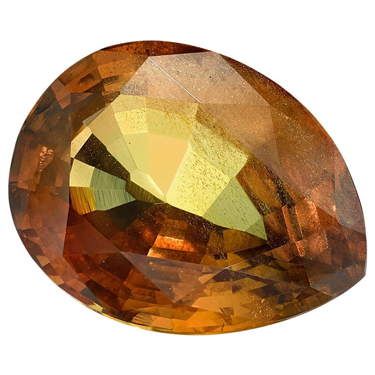GIA Certified Unheated 5.18 Carat Pear Shaped Brownish-Orange Sapphire For Sale