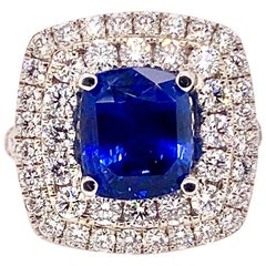 GIA Certified Unheated Blue Sapphire and Diamond Cocktail Ring