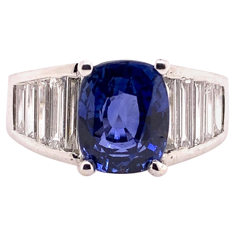 GIA Certified Unheated Blue Sapphire Diamond Ring 18 Karat White Gold