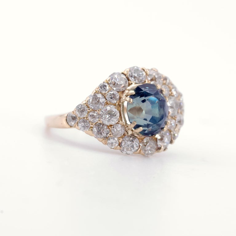 Victorian GIA Certified Unheated Montana Sapphire and Diamond Cluster Engagement Ring For Sale