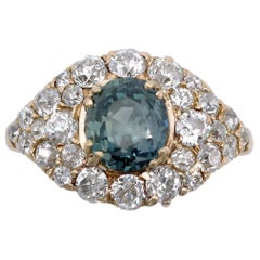 GIA Certified Unheated Montana Sapphire and Diamond Cluster Engagement Ring