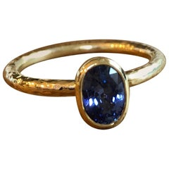 GIA Certified Unheated Oval Ceylon Sapphire 18 Karat Gold Engagement Ring