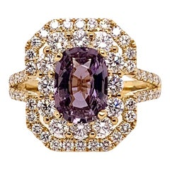 GIA Certified Unheated Purple Sapphire Ring with Diamonds in 18 Karat Gold