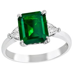 GIA Certified Untreated 1.37 Carat Emerald Diamond Engagement Ring