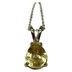 GIA Certified Untreated 2.13 Carat Ceylon Yellow Sapphire White Gold Pendant