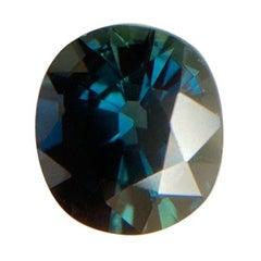 GIA Certified Untreated Deep Teal Blue Thailand Sapphire 1.99 Carat Oval Cut Gem