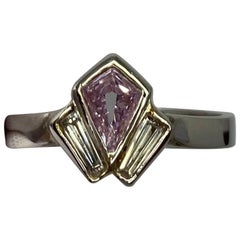 GIA Certified Untreated Fancy Pink Purple Diamond Art Deco Style Platinum Ring
