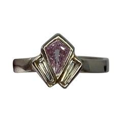GIA Certified Untreated Fancy Pink Purple Diamond Art Deco Style Platinum Ring