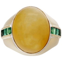 GIA Certified Untreated Orangy-Yellow Jadeite Jade Ring with Emeralds