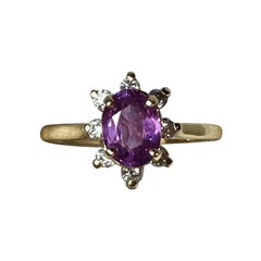 GIA Certified Untreated Purple Pink Sapphire Diamond Cluster Cocktail Ring