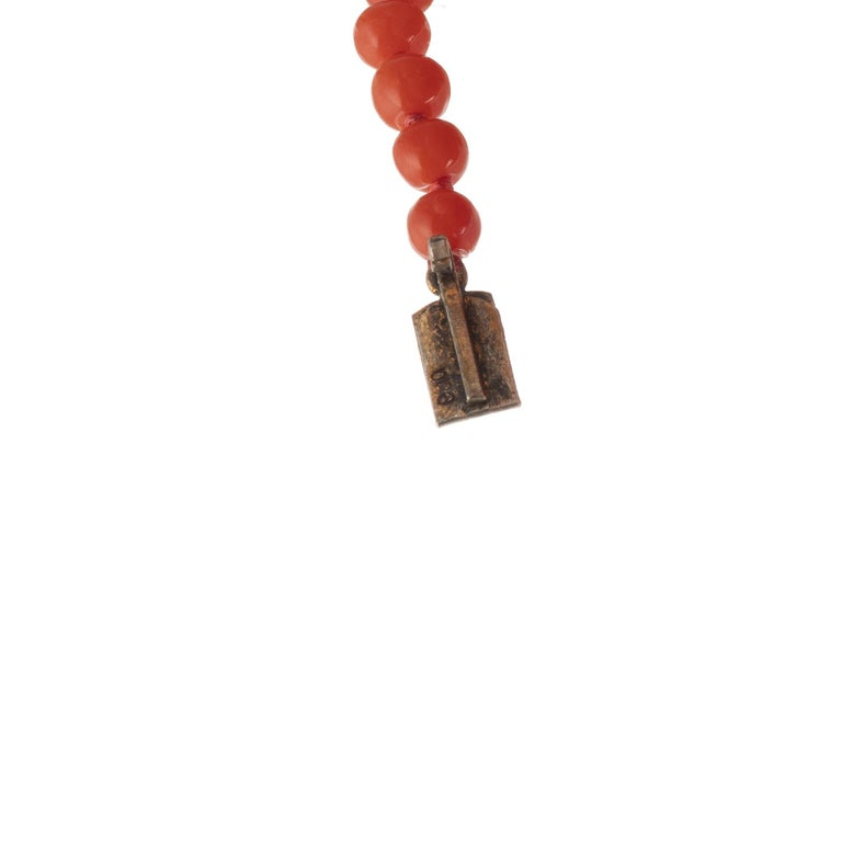 GIA Certified Victorian 1900s Polished Natural Orange Coral Graduated Necklace For Sale 1