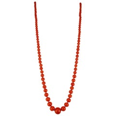 GIA Certified Victorian 1900s Polished Natural Orange Coral Graduated Necklace