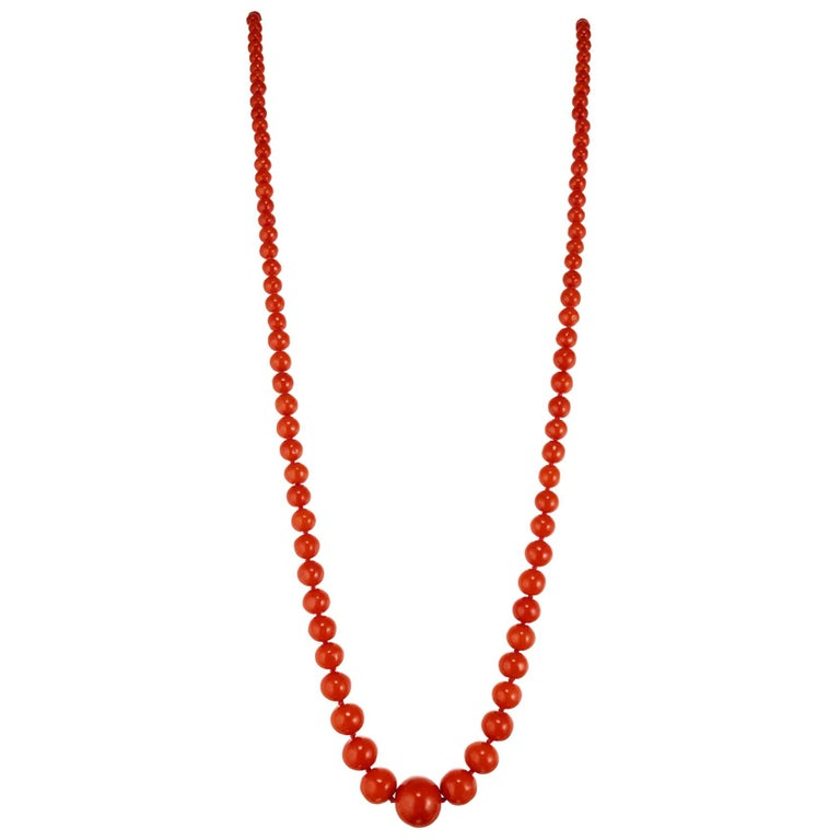 GIA Certified Victorian 1900s Polished Natural Orange Coral Graduated Necklace For Sale