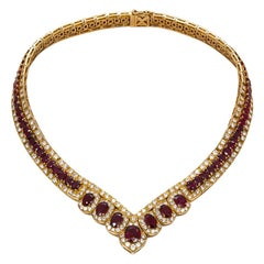 GIA Certified Vintage 18 Karat Yellow Gold Diamond and Ruby Graduated Necklace