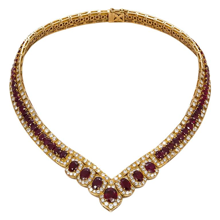 GIA Certified Vintage 18 Karat Yellow Gold Diamond and Ruby Graduated Necklace For Sale