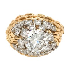 GIA Certified Vintage 18 Karat Yellow Gold Dome Diamond Ring