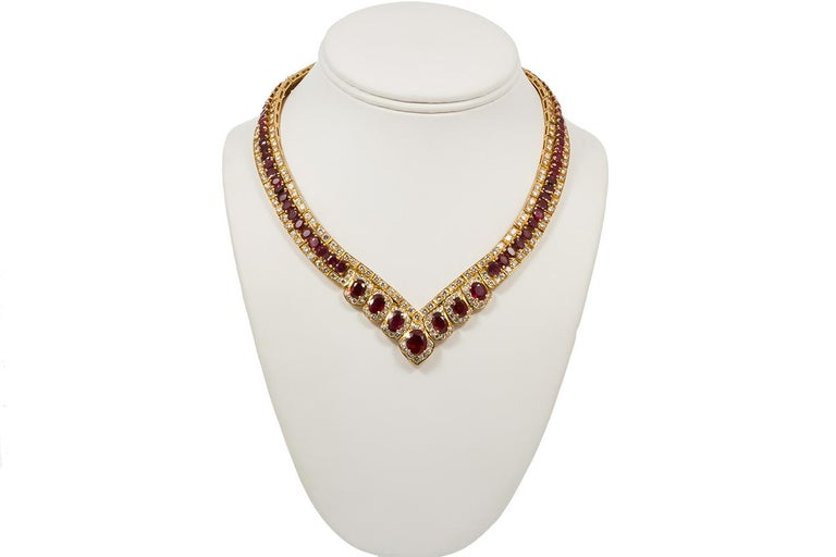 GIA Certified Vintage 18 Karat Yellow Gold Diamond and Ruby Graduated Necklace For Sale 4