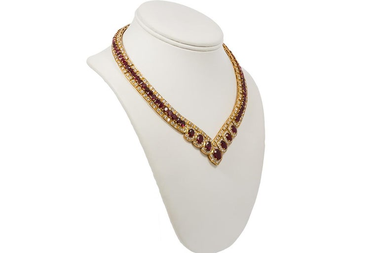 GIA Certified Vintage 18 Karat Yellow Gold Diamond and Ruby Graduated Necklace For Sale 5