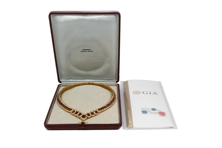 GIA Certified Vintage 18 Karat Yellow Gold Diamond and Ruby Graduated Necklace For Sale 6