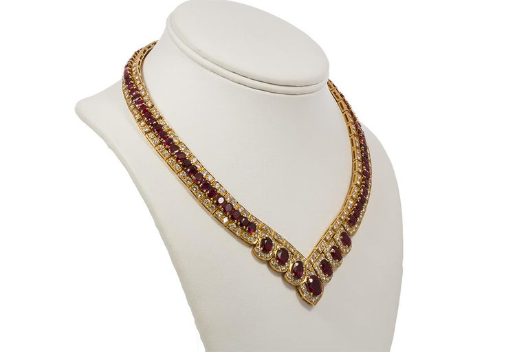 Contemporary GIA Certified Vintage 18 Karat Yellow Gold Diamond and Ruby Graduated Necklace For Sale