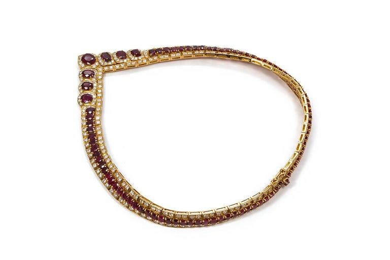 Women's GIA Certified Vintage 18 Karat Yellow Gold Diamond and Ruby Graduated Necklace For Sale