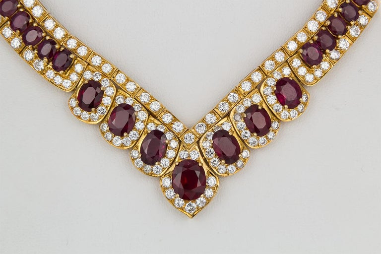 GIA Certified Vintage 18 Karat Yellow Gold Diamond and Ruby Graduated Necklace For Sale 2