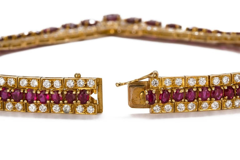 GIA Certified Vintage 18 Karat Yellow Gold Diamond and Ruby Graduated Necklace For Sale 3