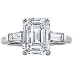 GIA Certified Vintage 3.46 Carat Emerald Cut Diamond Engagement Ring