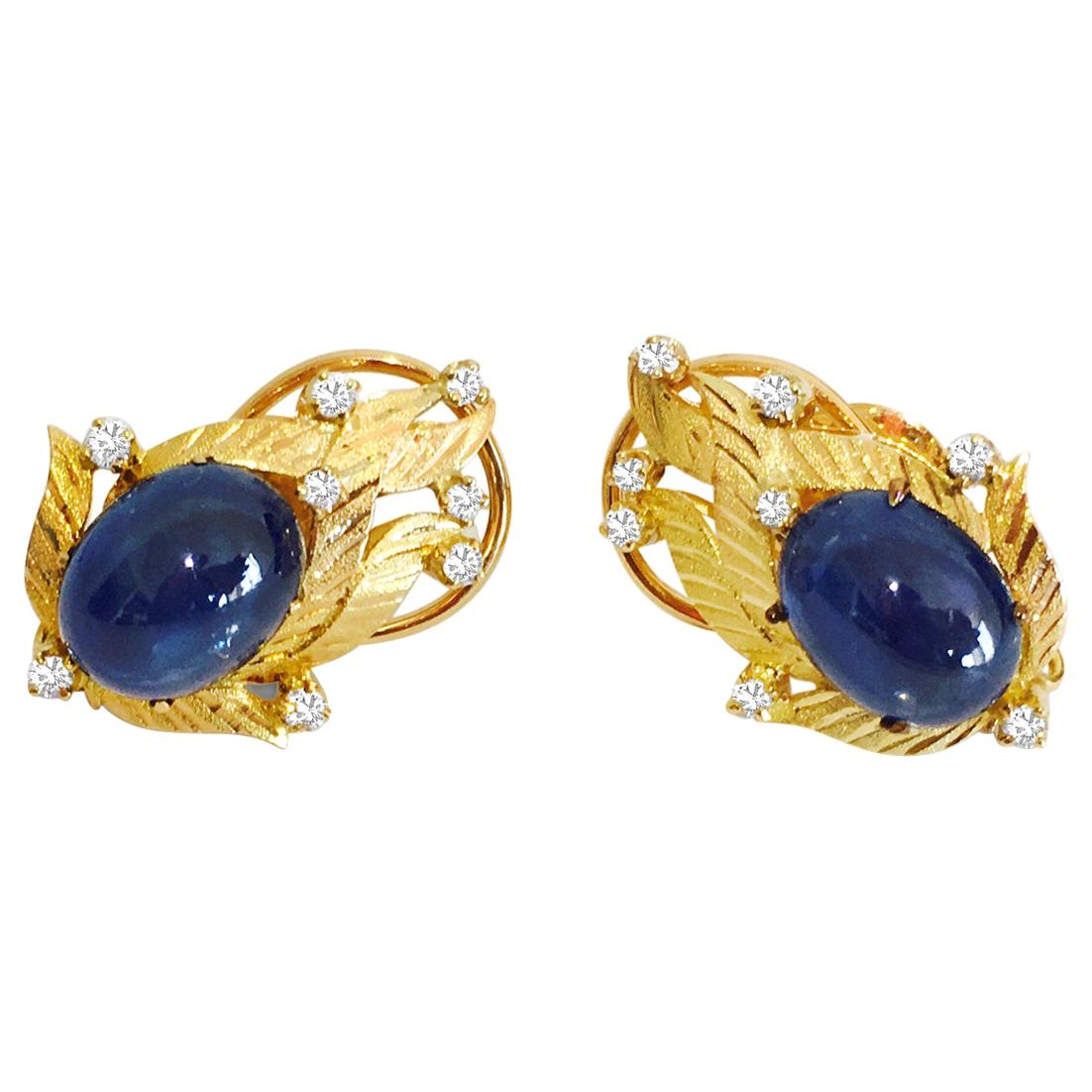 GIA Certified Vintage Cabochon Blue Sapphire Diamond Earrings