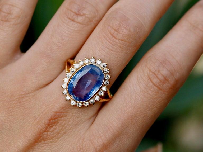 GIA Certified Vintage Ceylon Sapphire Diamond Halo Ring in 14 Karat Yellow Gold For Sale 1