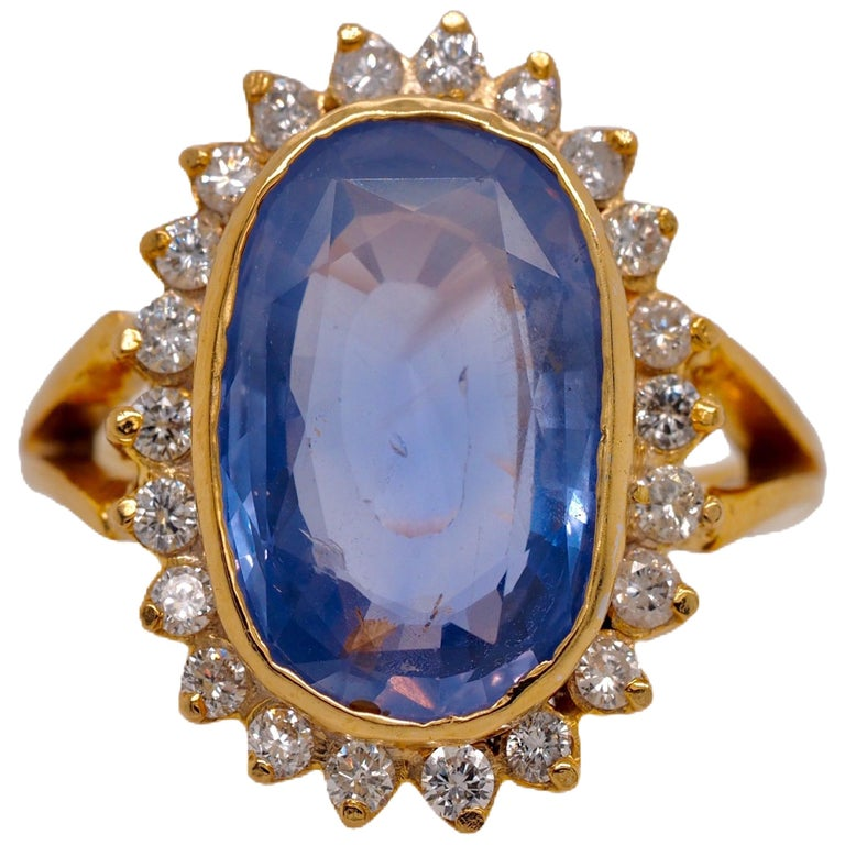 GIA Certified Vintage Ceylon Sapphire Diamond Halo Ring in 14 Karat Yellow Gold For Sale