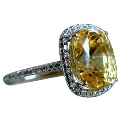 GIA Certified Vintage Diamond No Heat Natural Yellow Sapphire Engagement Ring