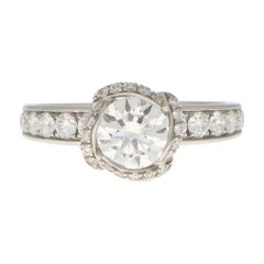 GIA Certified Vintage Fred Paris Knot Solitaire Engagement Ring Set in Platinum