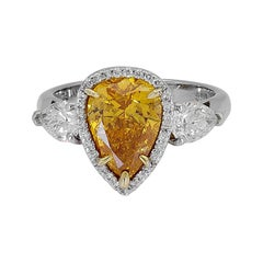 GIA Certified Vivid Yellow Orange Pear Shape Diamond Engagement Ring
