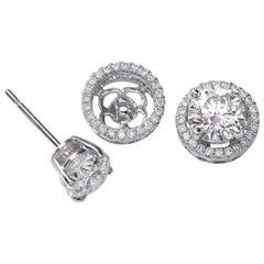 GIA Certified VS Quality 1.00 Carat Each Diamond Halo Studs