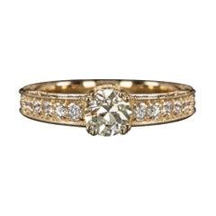 GIA Certified VS1 Diamond Engagement Ring Old European Cut Yellow Gold Vintage