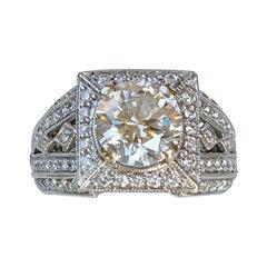 GIA Certified VVS2 F 1.85 Carat Center Diamond Ring with 3.5 Carat Total Weight