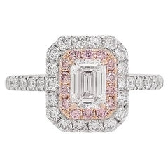 GIA Certified White Diamond and Argyle Pink Diamond in Platinum Engagement Ring