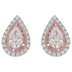GIA Certified White Diamond and Pink Diamond Stud Earrings in Platinum and 18K