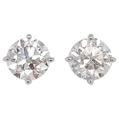 HYT GIA Certified White Diamond Solitaire Stud Earrings in 18 Karat White Gold