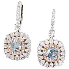 GIA Certified White Gold 3.13 Carat Diamond Drop Earrings