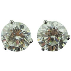 GIA Certified White Gold 4.06 Carat Diamond Stud Earrings, Martini Settings