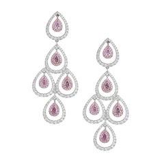 GIA Certified White Gold Chandelier Pear Cut Diamond Earrings, 3.92 Carat