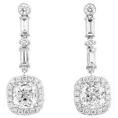 GIA Certified White Gold Cushion and Baguette Cut Diamond Earrings, 2.72 Carat