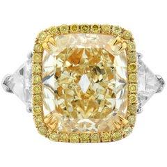 GIA Certified White Gold Cushion Cut Fancy Yellow Diamond Ring, 6.85