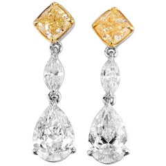 GIA Certified White Gold Diamond Earrings, 3.16 Carat