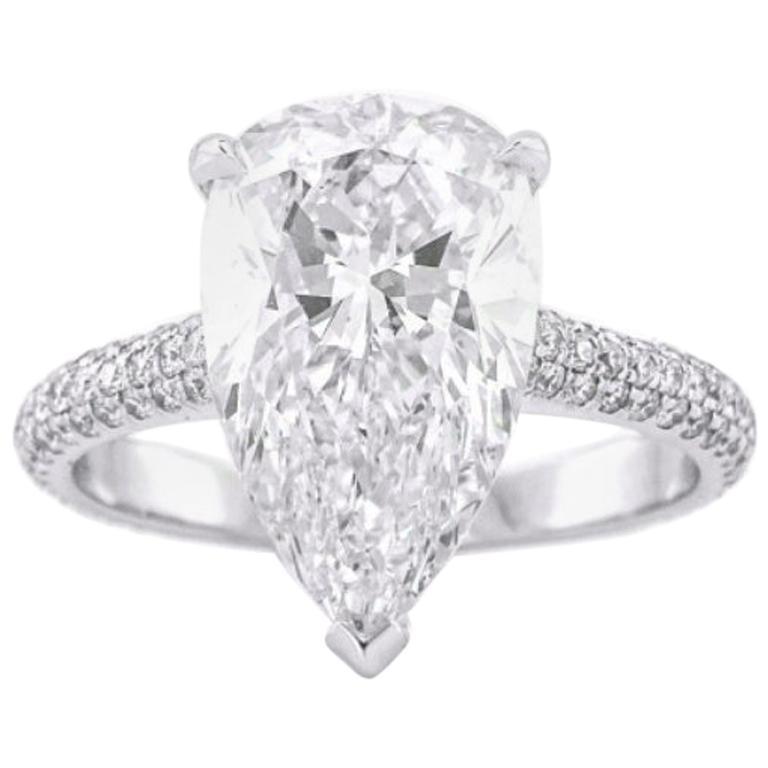 Certified 4.55ct White Pear Cut Diamond Engagement Wedding Ring 14K White Gold