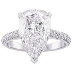 GIA Certified White Gold Pear Cut Diamond Ring, 5.32 Carat