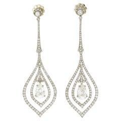 GIA Certified White Gold Pear Shaped Diamond Drop Earrings