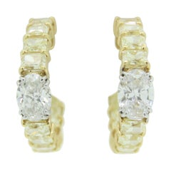 GIA Certified White Oval Diamond and Fancy Yellow Radiant Diamond Hoop Earrings